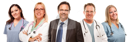Businessman with Doctors and Nurses Behind stock photo, Businessman with Doctors or Nurses Behind Isolated on a White Background. by Andy Dean