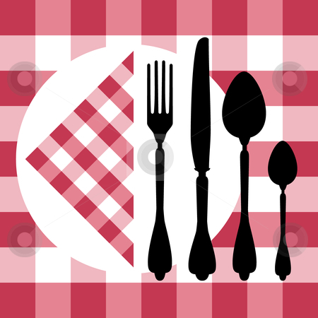 Menu design stock vector clipart, Menu design with cutlery silhouettes on red tablecloth, design for food concept. by Ela Kwasniewski