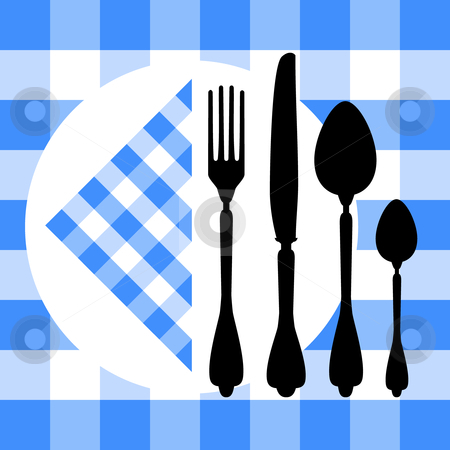 Design with cutlery silhouettes stock vector clipart, Design with cutlery silhouettes on blue tablecloth, design for food concept by Ela Kwasniewski