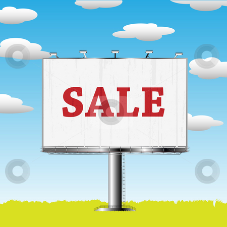 Outdoor billboard with sale sign stock photo, Grand outdoor billboard with sale sign over cloud backgrouns by Richard Laschon