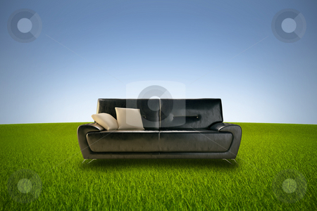 Life in nature stock photo, Comfortable leather sofa in a green grass meadow by Giordano Aita