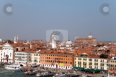 Venice Cityscape stock photo, A cityscape view of Venice, Italy from high above the water. by Kevin Tietz
