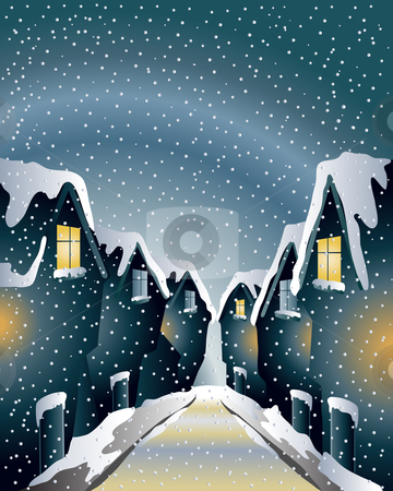 Winter rooftops stock vector clipart, An illustration of a historical street in winter with lighted windows on a snowy day by Mike Smith