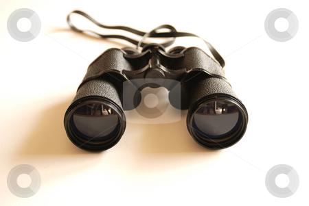 Binoculars stock photo, Black binoculars on white background. studio shot by zagart