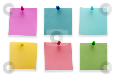 Post it notes stock photo, A different color post it notes with spins isolated on white background. Studio light. by Alex Varlakov