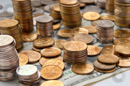 Money concept stock photo, Piles of coins. The concept of cash, savings, finance and business by Alex Varlakov