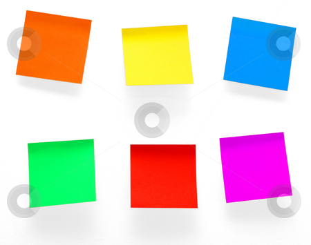 Post it notes stock photo, A different color post it notes isolated with clipping path. Studio light. Natural shade. by Alex Varlakov