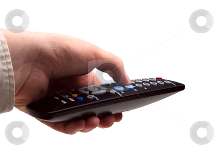 Hand with TV remote isolated stock photo, Hand holding TV remote control. Isolated on a white background by Alex Varlakov
