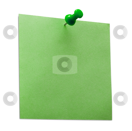 Post it stock photo, A green post it note with spin isolated with clipping path. Studio light. by Alex Varlakov