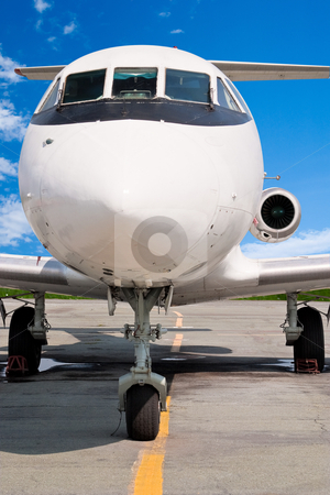 Business jet stock photo, The small business jet. Front View by Alex Varlakov
