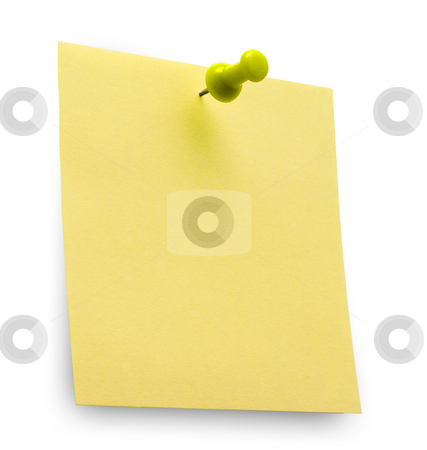 Post it stock photo, A yellow post it note with spin isolated with clipping path. Studio light. by Alex Varlakov
