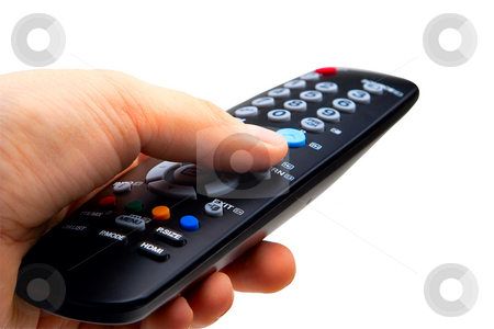 TV remote stock photo, Hand holding TV remote control. Isolated on a white background