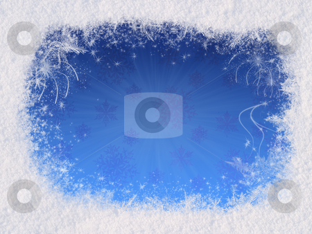 Winter magic frame stock photo, Winter magic frame consists of snow on the edges, the gradient of the sky in the center. Magic Christmas mood reinforce sparkling snowflakes and fireworks by Alex Varlakov