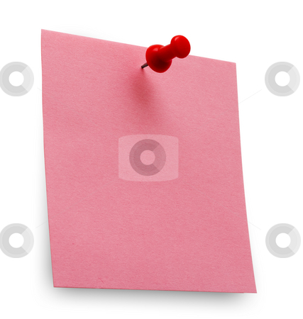 Post it stock photo, A red post it note with spin isolated with clipping path. Studio light. by Alex Varlakov