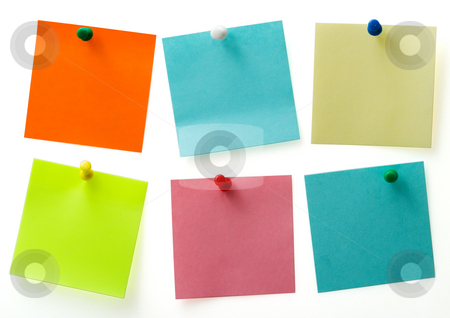 Post it notes stock photo, A different color post it notes with spins isolated with clipping path. Studio light. Natural shade. by Alex Varlakov