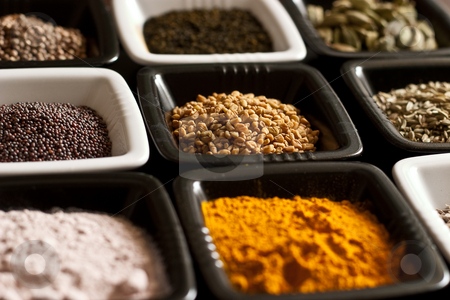 Set of spices stock photo, A set of original Indian spices by Alex Varlakov