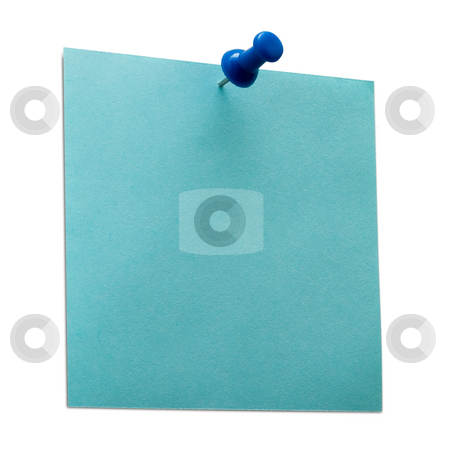 Post it stock photo, A blue post it note with spin isolated with clipping path. Studio light. by Alex Varlakov