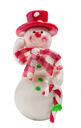 Toy Christmas snowman isolated stock photo, Toy christmas snowman isolated on a white background by Alex Varlakov
