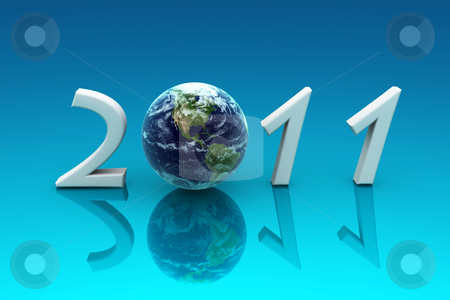 2011 Earth, reflected in a blue background stock photo, 3d render , new year postcard by Elis Baba