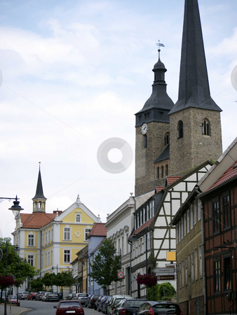 Church and Town Hall in Burg stock photo, Church of