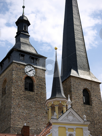 Church tower and Town Hall in Burg stock photo, Church of  Unser Lieben Frauen and Town Hall in Burg, near Magdeburg, Germany by Heike Jestram