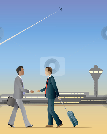 Business handshake stock vector clipart, An illustration of two business men at an airport walking towards each other about to shake hands by Mike Smith
