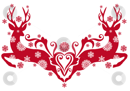 Christmas deer, vector stock vector clipart, Red christmas deer with snowflakes, vector background by Beata Kraus