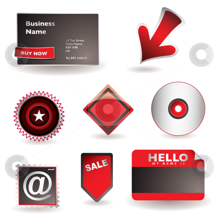 Business information concept stock vector clipart, Range of business icons with card arrow and email symbol by Michael Travers