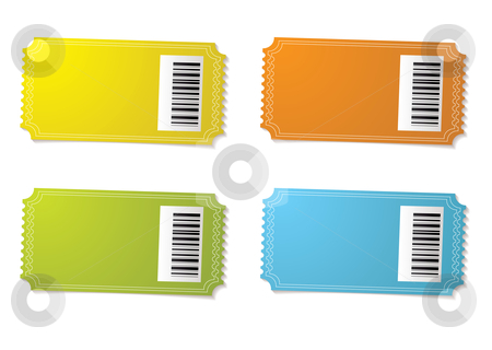Ticket stub barcode stock vector clipart, Four ticket stubs with color variation and barcode by Michael Travers