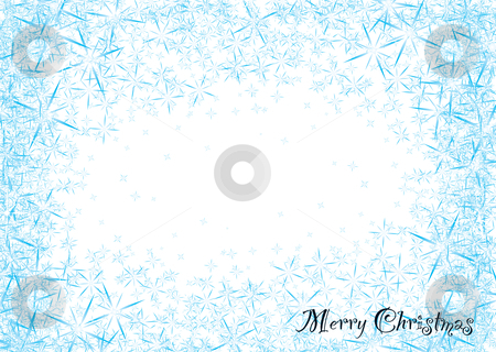 Snowflake dust stock vector clipart, Modern blue and white snowflake star burst christmas frame background by Michael Travers