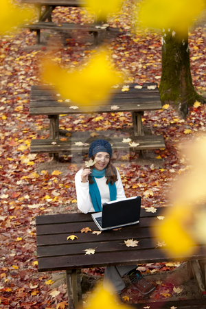 Autumn work stock photo, Beautiful young woman in the park working with a laptop by ikostudio