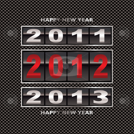 2012 carbon fiber change stock vector clipart, Modern carbon fiber background with 2012 new year counter by Michael Travers