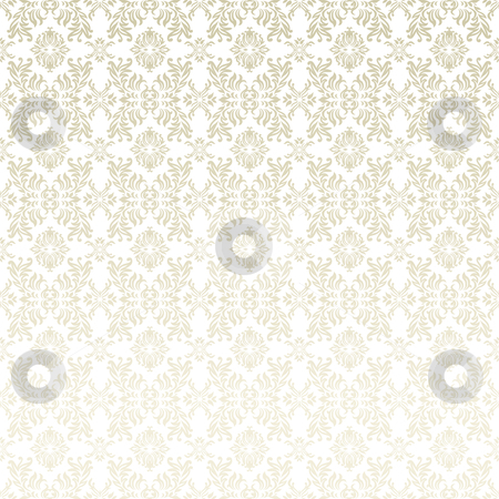 Floral leaf background stock vector clipart, Classic gothic floral wallpaper background pattern in white and beige by Michael Travers