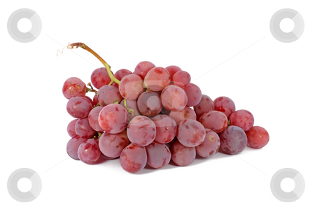 Ripe grapes stock photo, Red ripe grapes isolated on white by Borislav Marinic
