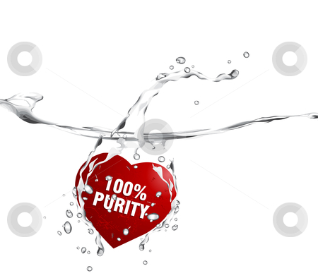 Valentine Illustration stock vector clipart, Valentine's Day Concept, red heart diving into the water with text message 100% purity. by Nabeel Zytoon