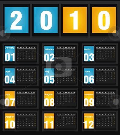 2010 Calendar stock vector clipart, Vector illustration of 2010 Calendar, easy to edit. by Nabeel Zytoon
