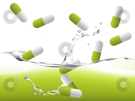 Pills on water stock vector clipart, Pills on water with splashing effect, medical illustration. by Nabeel Zytoon