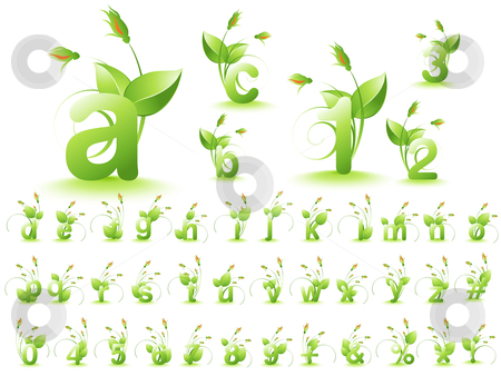 Green alphabet stock vector clipart, Vector illustration of font design alphabet. by Nabeel Zytoon