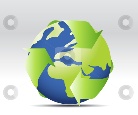 Environmental conceptual  stock vector clipart, Environmental conceptual image of three arrows forming circle around Earth representing three natural elements by Nabeel Zytoon