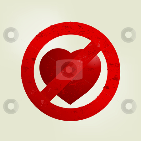 Love Illustration stock vector clipart, Valentine's Day Concept, Don't love sign. by Nabeel Zytoon