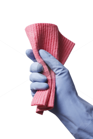 Cleaning time! stock photo, A rubber gloved hand holding a red cleaning cloth by Stocksnapper