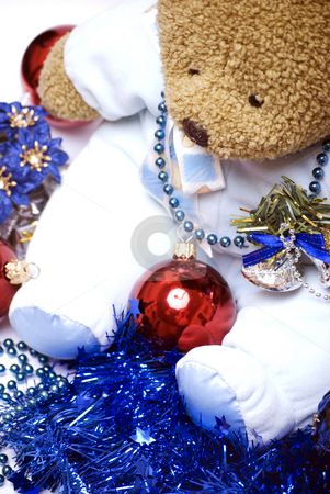 Soft bear with Christmas decorations   stock photo, Soft bear with Christmas balls, bells, flowers and  blue tinsel by Kirill Kedrinski