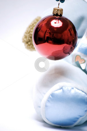 Christmas and New Year decoration     stock photo, Red Christmas ball in the pad of soft bear by Kirill Kedrinski