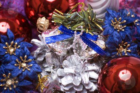 Christmas and New Year decorations  stock photo, Christmas balls, cones, flowers and bells by Kirill Kedrinski