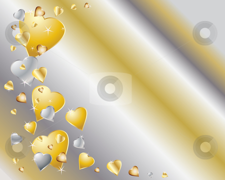 Gold And Silver Hearts Stock Vector