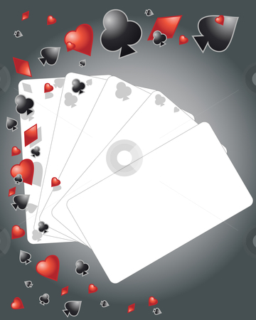 Playing cards stock vector clipart, An illustration of playing card elements with cards left blank for your design by Mike Smith