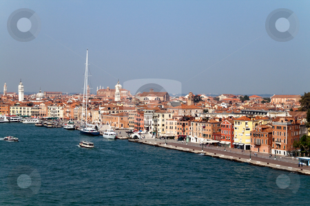 City of Venice stock photo, A cityscape view of Venice, Italy from high above the water. by Kevin Tietz