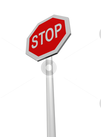 Stop stock photo, Stop sign on white background - 3d illustration by J?