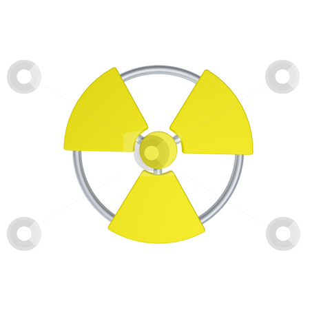 Nuclear stock photo, Nuclear symbol on white background - 3d illustration by J?