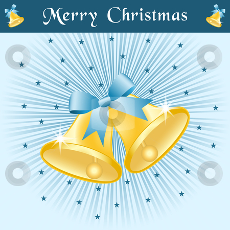 Christmas bells on blue sunburst stock vector clipart, Christmas bells in gold with bows on a blue sunburst background decorated with stars. by toots77